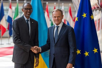 President Kagame meets with President of the European Council Donald Tusk on the sidelines of European Development Days summit.