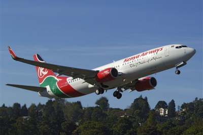 A KQ Boeing 737-800 airliner.