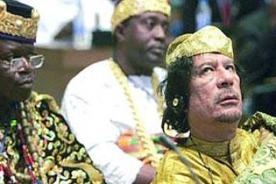 Libyan leader Muammar al-Gaddafi at an African Union meeting.