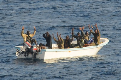 Suspected pirates intercepted by United States naval forces in the Gulf of Aden.
