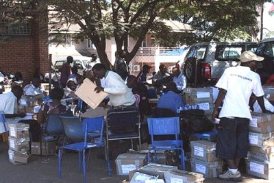 Polling agents in Blantyre (file photo).