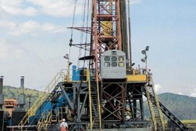 An oil field near Lake Albert in western Uganda.
