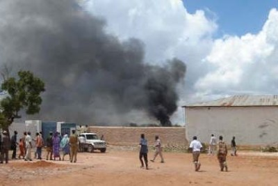 A scene from a past bomb attack in Somalia.