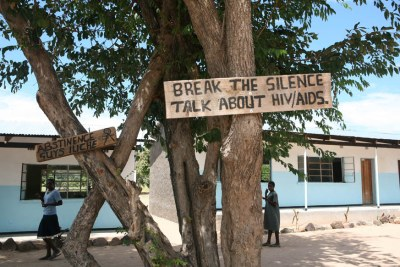 Signs promoting HIV/Aids awareness in Ngoma School in Maamba district, Zambia.