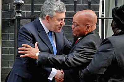 President Zuma began the second day of his state visit with a meeting with Prime Minister Gordon Brown at 10 Downing Street.