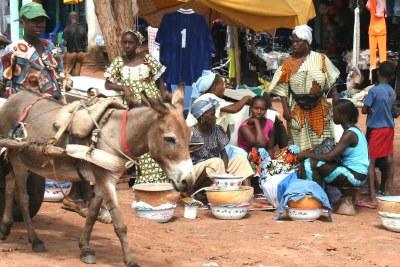 Market scene in Guinea Bissau.