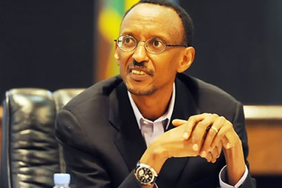 President Kagame at the press conference yesterday