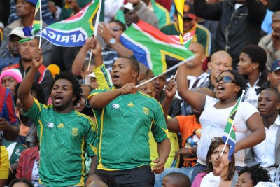 Bafana fans during the International match between South Africa and Japan from Nelson Mandela Bay Stadium on November 14, 2009 in Port Elizabeth, South Africa.