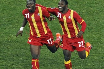 Ghana's Sulley Muntari, left, and Kwadwo Asamoah at the 2010 World Cup. Both are back in the squad, with Muntari the Black Stars' potential match-winner.