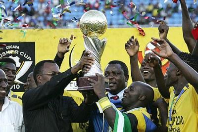 Nation Kilimanjaro Stars celebrate winning the Senior Chalenge Cup at the National Stadium in Dar es Salaam on Sunday.