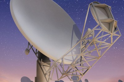 An artist's impression of the MeerKAT telescope array already being built.