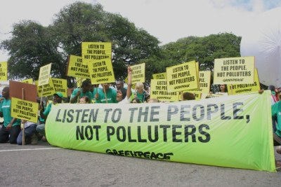 Greenpeace protesters during the COP17 climate talks.