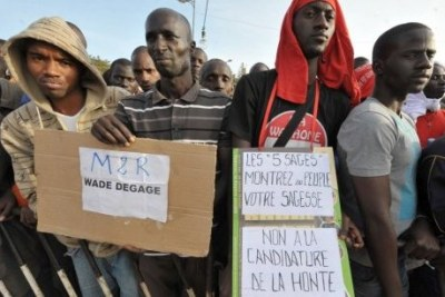 Protesters gather to voice their opposition against President Abdoulaye Wade running for another term as president.