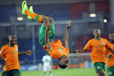 Zambia's Emmanuel Mayuka celebrates a goal (file photo).