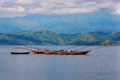 Boats on Lake Kivu.