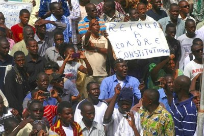 Les contestataires du coup d'état en manifestation à Bamako.(Photo d'archives)
