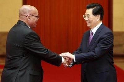Le président Jacob Zuma en compagnie de l'ancien président chinois Hu Jintao.