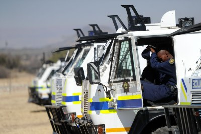 Police on standby at Lonmin's Marikana mine in the North West (file photo).