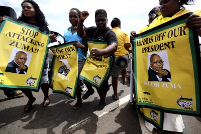 Supporters outside President Jacob Zuma's residence in the Nkandla area in KwaZulu-Natal on November 4, 2012.