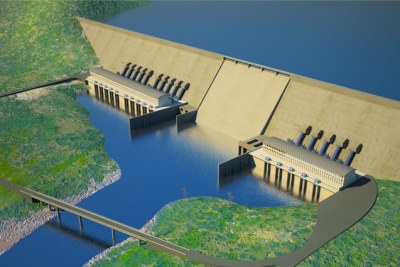 Artist's impression of the Renaissance Dam, under construction on the Blue Nile in Ethiopia.
