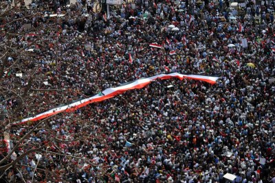 Protesters in Tahrir Square, 1 April 2011. Some of the protesters also gathered in Tahrir Square over the weekend.