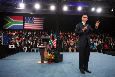 President Obama answers questions at a Young African Leaders Initiative town hall meeting in Soweto.