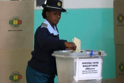 Police vote in Zimbabwe.