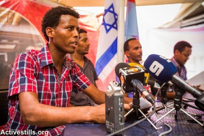 Activists from the Eritrean community held a press conference in Tel Aviv to expose journalists to the difficult situation in Eritrea and to protest the deportation of 15 Eritrean men from Israel (file photo).