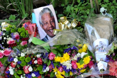Flowers outside Nelson Mandela's home during his stay in hospital.