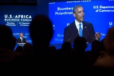 President Obama addressing the U.S.-Africa Business Forum.