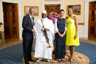 Former U.S. president Barack Obama and First Lady Michelle Obama Greet His Excellency Yahya A.J.J. Jammeh, President of the Republic of The Gambia, and Mrs. Zineb Jammeh.
