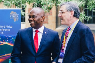 Chairman of Heirs Holdings Tony O. Elumelu and Oxford University Dean Peter Tufano at the historic Oxford Union, where Mr. Elumelu delivered a speech on Africapitalism as a Catalyst for Africa's Development at the weekend