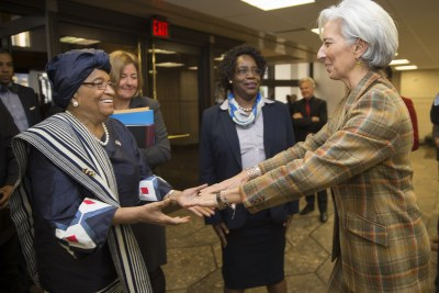 Lagard says the IMF has worked closely with President Ellen Johnson Sirleaf and her government to confront the outbreak (file photo).