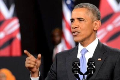 (photo d'archives) - Dimanche, le président Obama s'adresse aux Kenyans dans un stade de Nairobi.