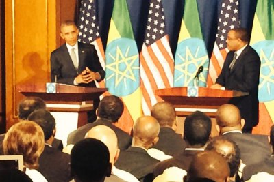 Prime Minister Hailemariam Desalegn and President Barack Obama at a joint press conference at the National Palace in Addis Ababa, during the first visit of an American head of state to Ethiopia.