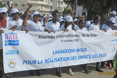 Marathon à l'occasion de la journée internationale de la fille à Dakar, Sénégal, le dimanche 11 octobre 2015.
