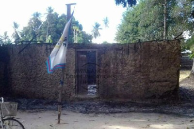 The Wangwi constituency CFU Office in Pemba, reduced to a shell after being torched on March 7.