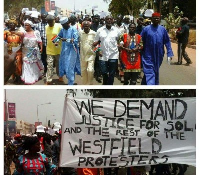 Manifestation contre l'arrestation d'opposants en Gambie, le jeudi 14 avril 2016 à Banjul