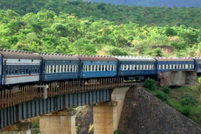Tazara train crossing a bridge.
