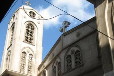 Eglise copte dans le quartier de Shubra au Caire.