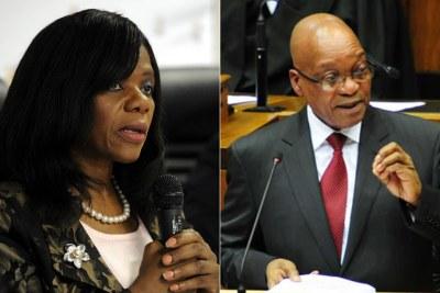 Left: Former public protector Thuli Madonsela. Right: President Jacob Zuma.