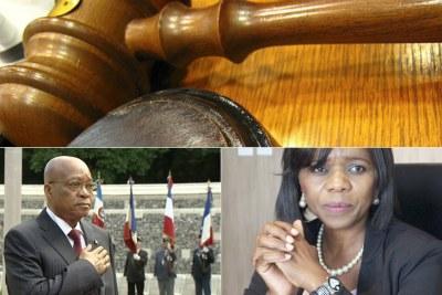 En bas: le président Jacob Zuma. En bas à droite: Ancienne chef du service de Protection du citoyen, Thuli Madonsela.