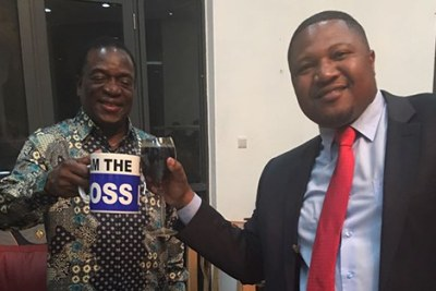 Vice President Emmerson Mnangagwa (left) and controversial businessman Energy Mutodi (file photo).