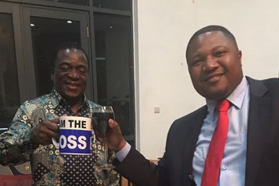 From left Vice President Emmerson Mnangagwa and Harare businessman Energy Mutodi (file photo).
