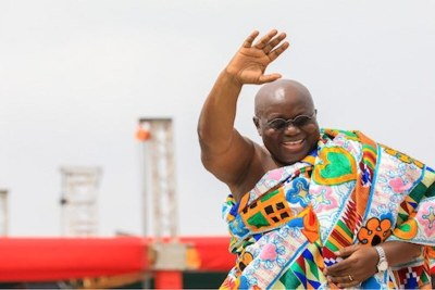 President Nana Addo Dankwa Akufo-Addo waves to supporters at the Black Star Square during his inauguration.