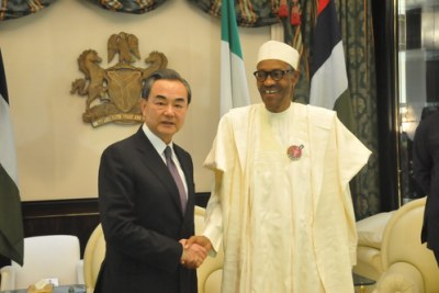 On January 11, 2017, President Muhammadu Buhari of Nigeria met with Foreign Minister Wang Yi at the Presidential Palace in Abuja.