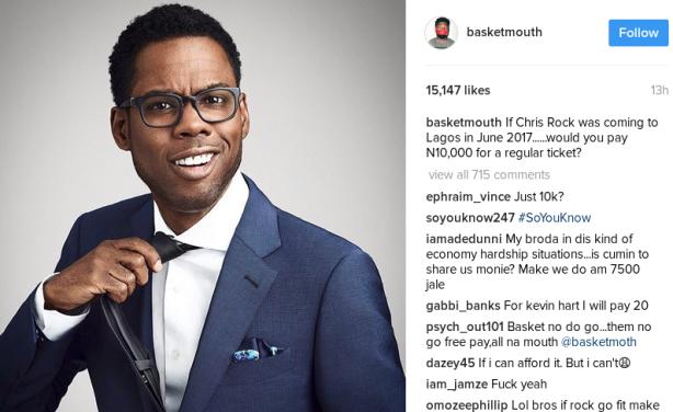 Is Basketmouth Bringing U S  Comedian Chris Rock to Nigeria
