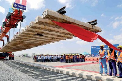 Construction of Nairobi terminus of SGR railway by China Road and Bridge Corp in Nairobi (file photo).