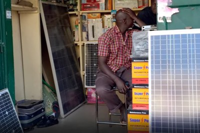 Solar photovoltaic panels on sale in the remote village of Zantiebougou, Mali.