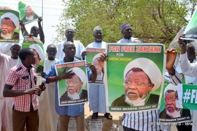Shi'a members demanding the release of Ibrahim El-Zakzaky in Abuja.